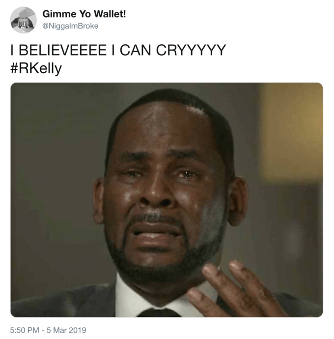 R Kelly meme with the lyrics to I believe I can Fly