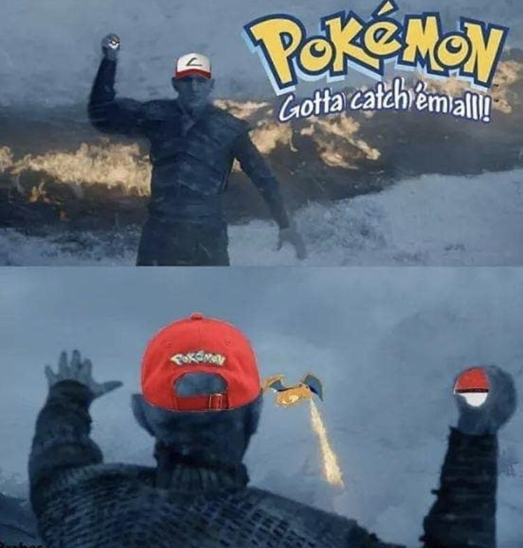night king wearing pokemon cap holding pokemon ball trying to catch the dragon gotta catch em all