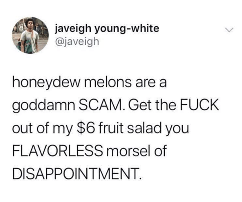 twitter post honeydew melons are a goddamn SCAM. Get the FUCK out of my $6 fruit salad you FLAVORLESS morsel of DISAPPOINTMENT