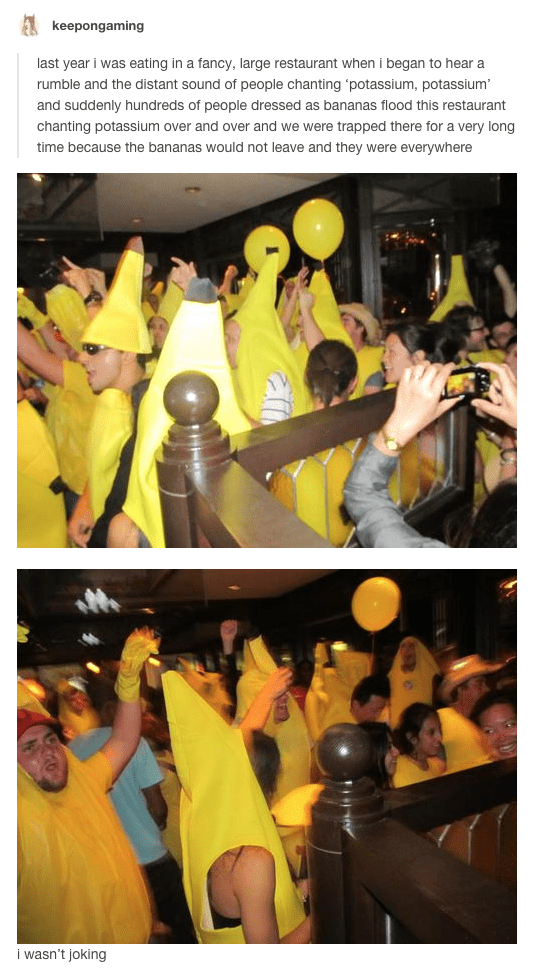 room full of people dressed in banana suits dancing and chanting potassium in a restaurant