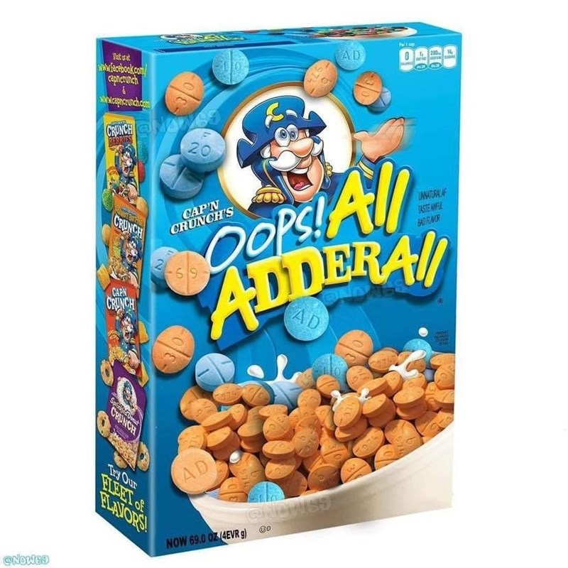 Funny meme, adderall cereal.
