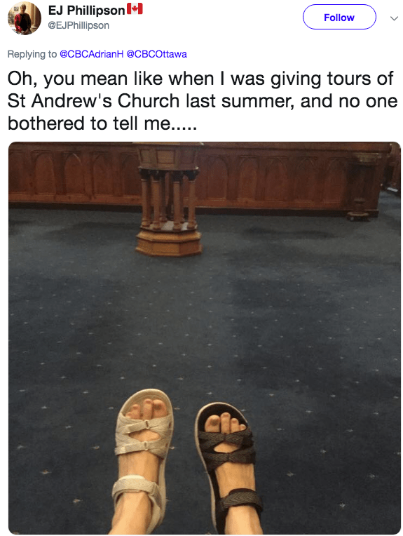work fail - Footwear - EJ Phillipson* @EJPhillipson Follow Replying to @CBCAdrianH @CBCOttawa Oh, you mean like when I was giving tours of St Andrew's Church last summer, and no one bothered to tell me....