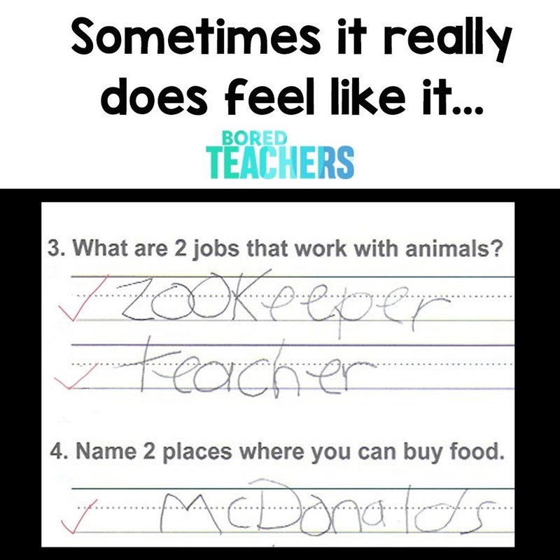 test sheet with child's writing on it Sometimes it really does feel like it... BORED TEACHERS 3. What are 2 jobs that work with animals? Keeper KKCachrer 4. Name 2 places where you can buy food.