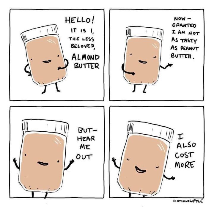 4 panel picture of cartoon jar talking almond butter more expensive than peanut butter