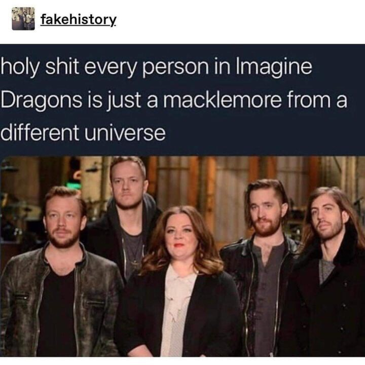 picture of imagine dragons band holy shit every person in Imagine Dragons is just a macklemore from a different universe