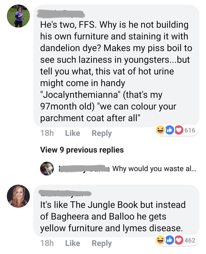 """Text - He's two, FFS. Why is he not building his own furniture and staining it with dandelion dye? Makes my piss boil to see such laziness in youngsters...but tell you what, this vat of hot urine might come in handy """"Jocalynthemianna"""" (that's my 97month old) """"we can colour your parchment coat after all"""" 616 Like Reply 18h View 9 previots replies Why would you waste al... It's like The Jungle Book but instead of Bagheera and Balloo he gets yellow furniture and lymes disease. 462 18h Reply Like"""