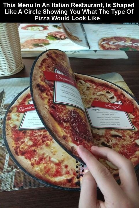 creative twist - Dish - This Menu In An Italian Restaurant, Is Shaped Like A Circle Showing You What The Type Of Pizza Would Look Like Casparen Funghi 18g Ke Quattr on oma mon