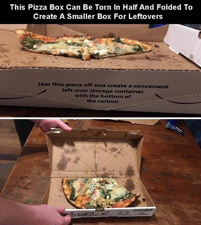 creative twist - Food - This Pizza Box Can Be Torn In Half And Folded To Create A Smaller Box For Leftovers ear this piece off and create a convenient left-over storage container with the bottom of the carton! GREEN aK