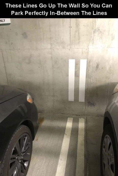 creative twist - Vehicle - These Lines Go Up The Wall So You Can Park Perfectly In-Between The Lines NLY