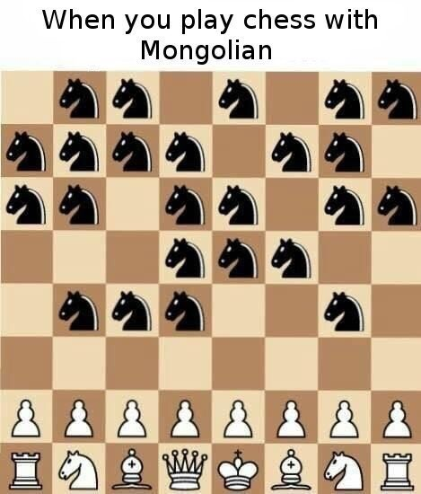"""Caption that reads, """"When you play chess with a Mongolian"""" above pic of a chess board with normal pieces on one side and a bunch of horse pieces on the other side"""