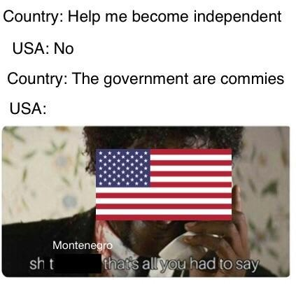 """Caption that reads, """"Country: Help me become independent; USA: No; Country: The government are commies; USA: ..."""" above a still of Samuel L. Jackson as America saying, """"Sh*t Montenegro, that's all you had to say"""""""
