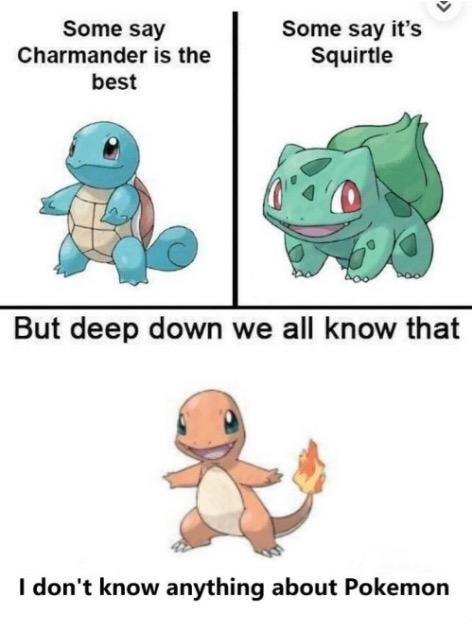 Text - Some say Some say it's Squirtle Charmander is the best But deep down we all know that I don't know anything about Pokemon