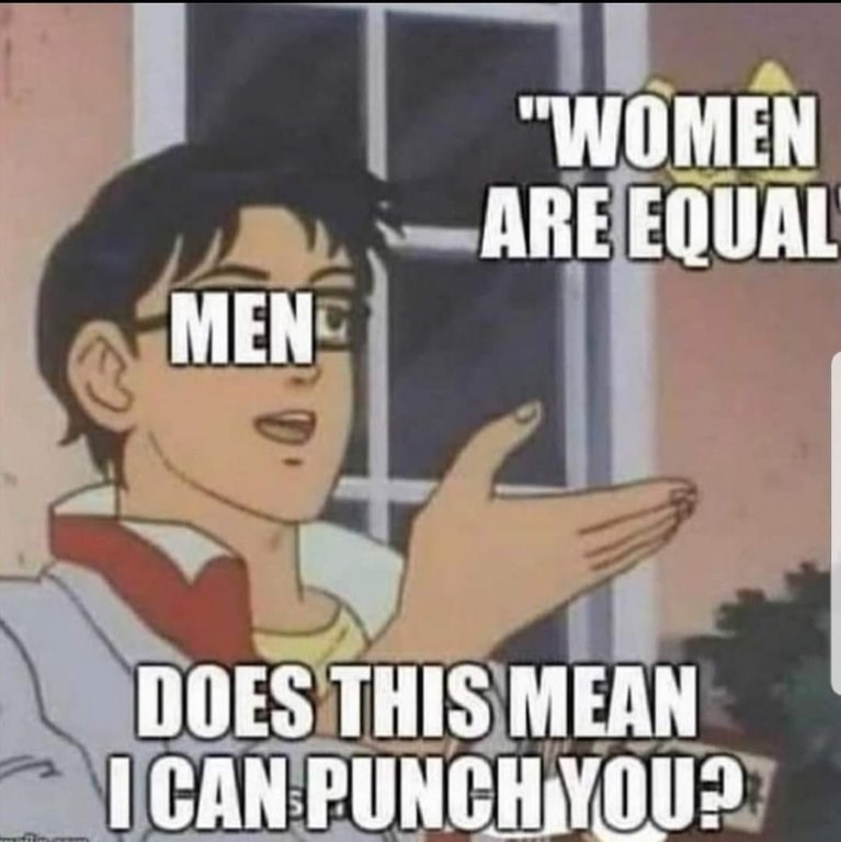 "Cartoon - ""WOMEN ARE EQUAL MENE DOES THIS MEAN ICAN PUNCH YOU?"