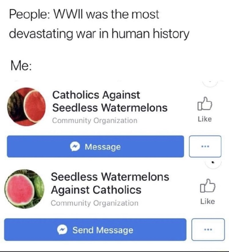 meme - Text - People: WWII was the most devastating war in human history Me: Catholics Against Seedless Watermelons Like Community Organization Message Seedless Waterme lons Against Catholics Like Community Organization Send Message