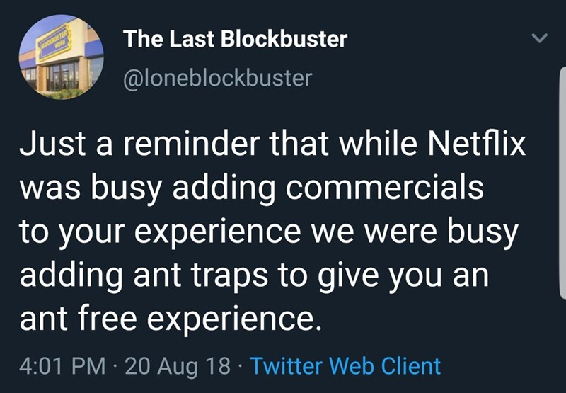 Text - The Last Blockbuster LACKBUSTER @loneblockbuster Just a reminder that while Netflix was busy adding commercials to your experience we were busy adding ant traps to give you an ant free experience. 4:01 PM 20 Aug 18 Twitter Web Client