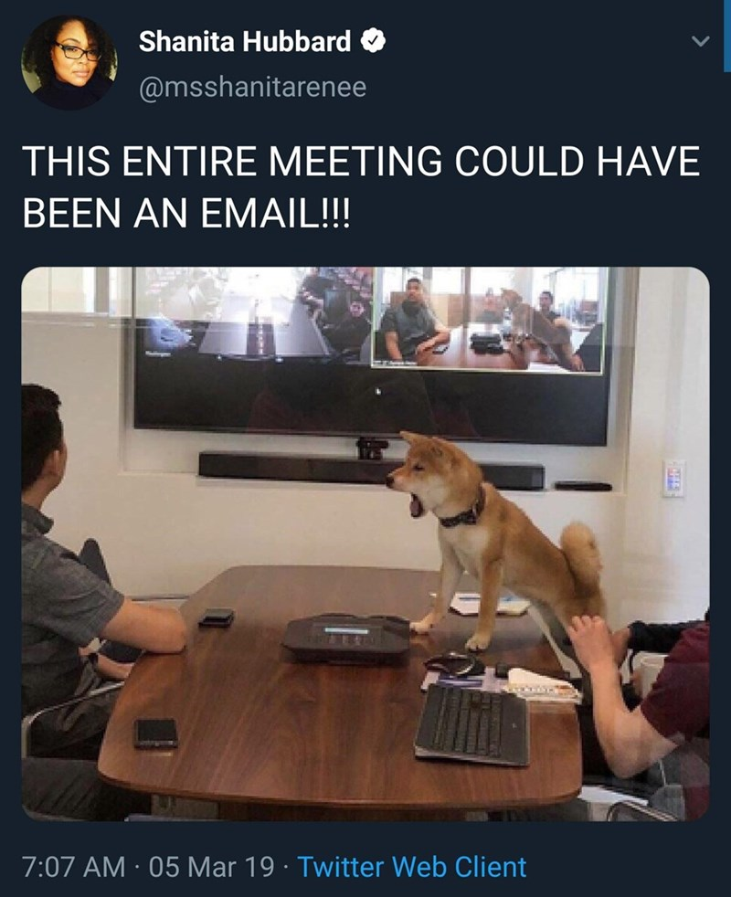meme of a dog sitting at a business meeting