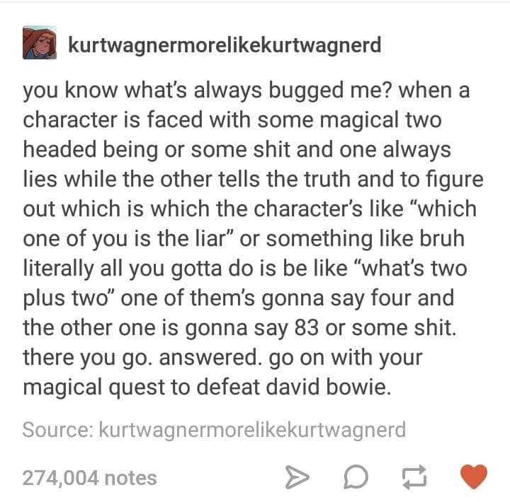 post about a character that's faced with a magical two headed being