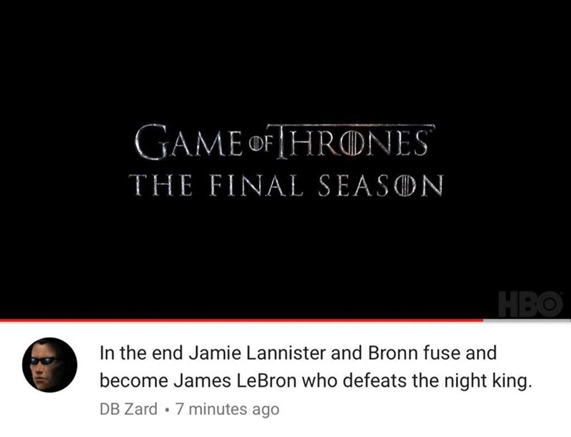 meme about Jamie Lannister and Bronn becoming James Lebron