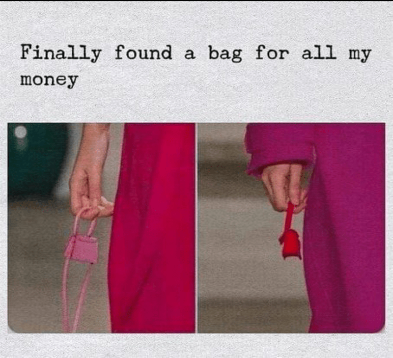 meme about having a tiny purse to match the amount of money you have