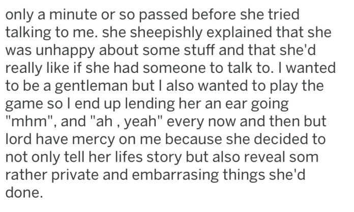 screenshot of text from reddit about guy misunderstanding girl and humiliating her