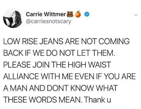 """Tweet that reads, """"LOW-RISE JEANS ARE NOT COMING BACK IF WE DO NOT LET THEM. PLEASE JOIN THE HIGH-WAIST ALLIANCE WITH ME EVEN IF YOU ARE A MAN AND DON'T KNOW WHAT THESE WORDS MEAN. Thank u"""""""