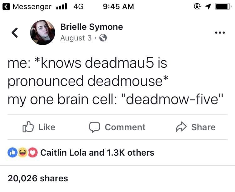 """Facebook status that reads, """"Me: *Knows Deadmau5 is pronounced Deadmouse;* My one brain cell: Deadmow-five"""""""