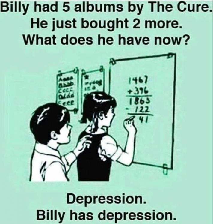 Text - Billy had 5 albums by The Cure. He just bought 2 more. What does he have now? 1467 +376 1865 122 41 Eeee Depression. Billy has depression.