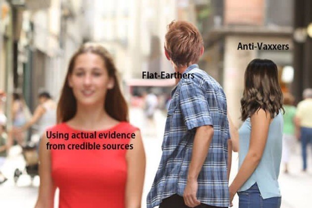 boyfriend checking out other girl meme Anti-Vaxxers Flat-Earthers Using actual evidence from credible sources