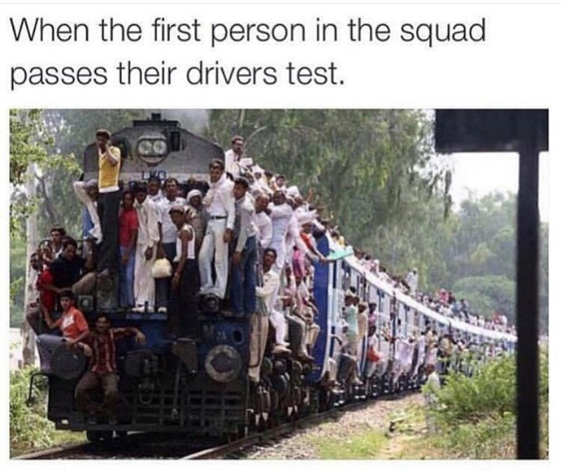 meme of lots of people hanging from a train
