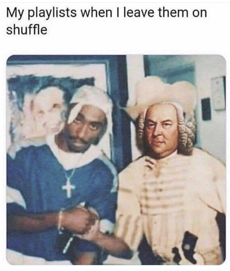 meme with tupac and a colonial man shaking hands when you leave your playlist on shuffle