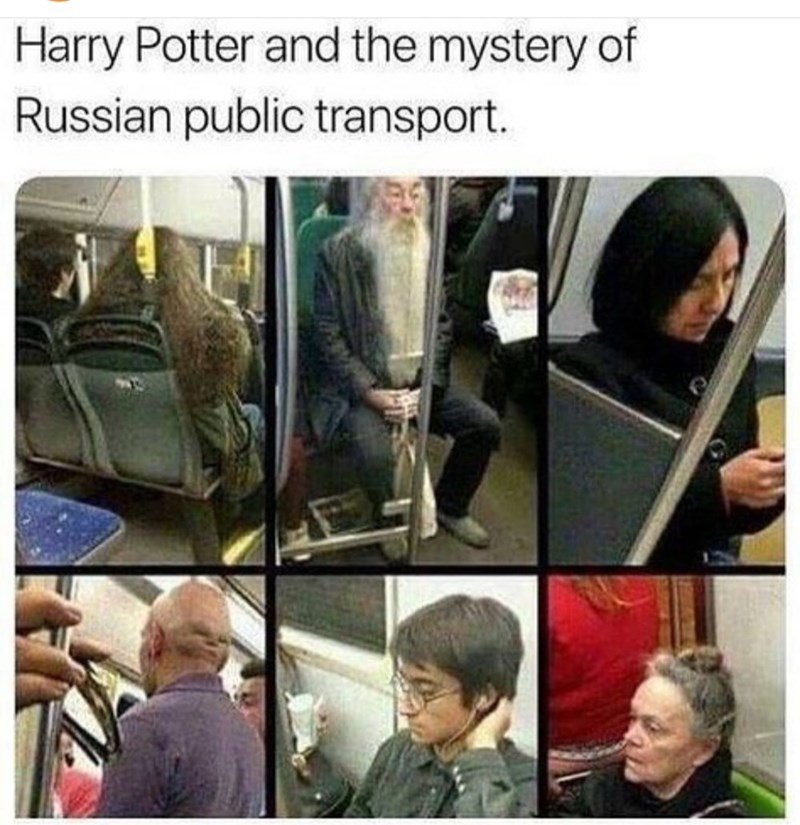 meme about people on Russian transportation that look like characters from harry potter