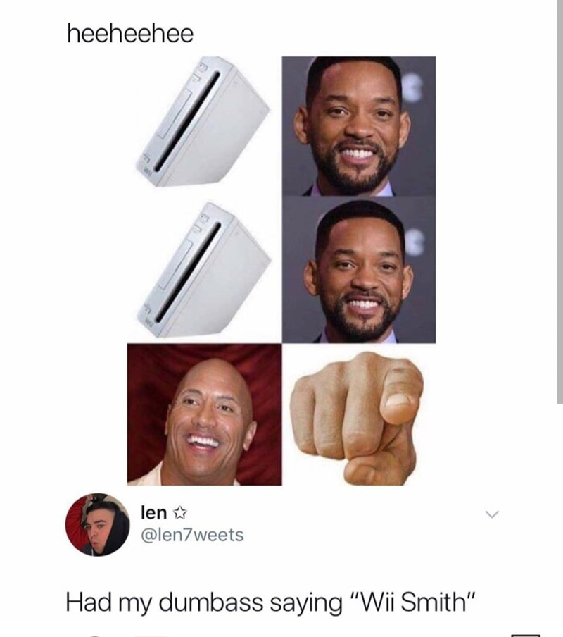 """meme about """"wii smith"""" and dwayne the rock johnson"""
