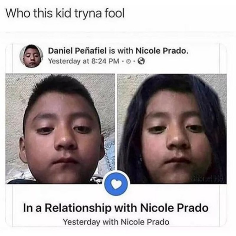 meme of a kid that photo shopped himself as a girl and updated his relationship status