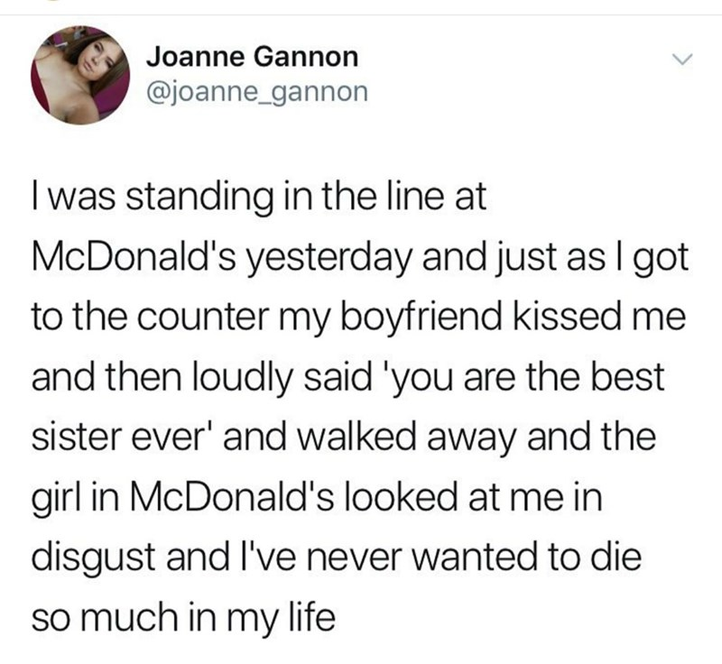 meme of a boyfriend that called his girlfriend sister in front of a McDonald's line