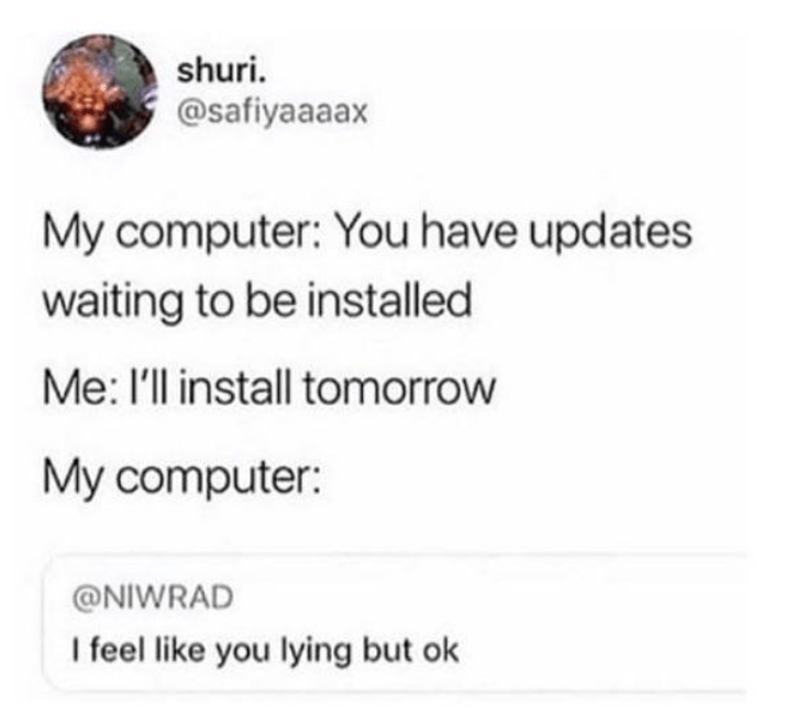 Funny meme about installing computer updates.