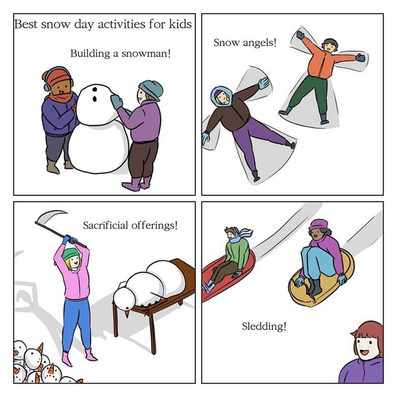 meme about snow activities for children