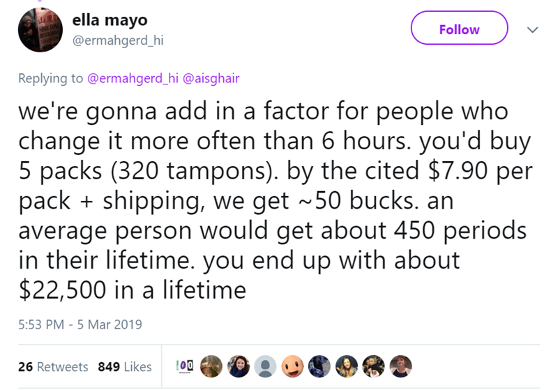 Text - ella mayo @ermahgerd_hi Follow Replying to @ermahgerd_hi @aisghair we're gonna add in a factor for people who change it more often than 6 hours. you'd buy 5 packs (320 tampons). by the cited $7.90 per packshipping, we get 50 bucks. an average person would get about 450 periods in their lifetime. you end up with about $22,500 in a lifetime 5:53 PM - 5 Mar 2019 O0 26 Retweets 849 Likes