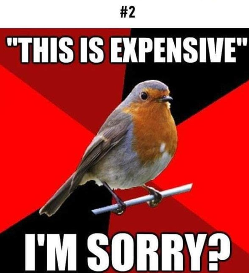 """Pic of a bird with caption that reads, """"This is expensive - I'm sorry?"""""""
