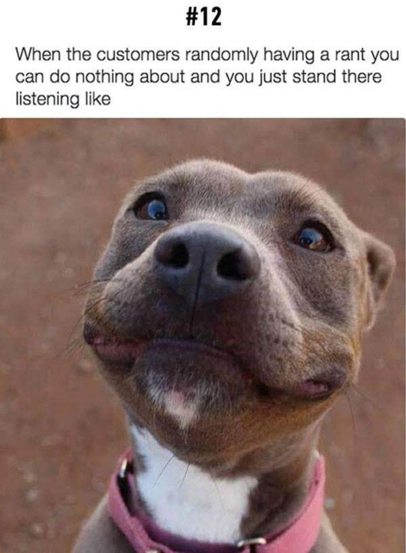 Dog - #12 When the customers randomly having a rant you can do nothing about and you just stand there listening like