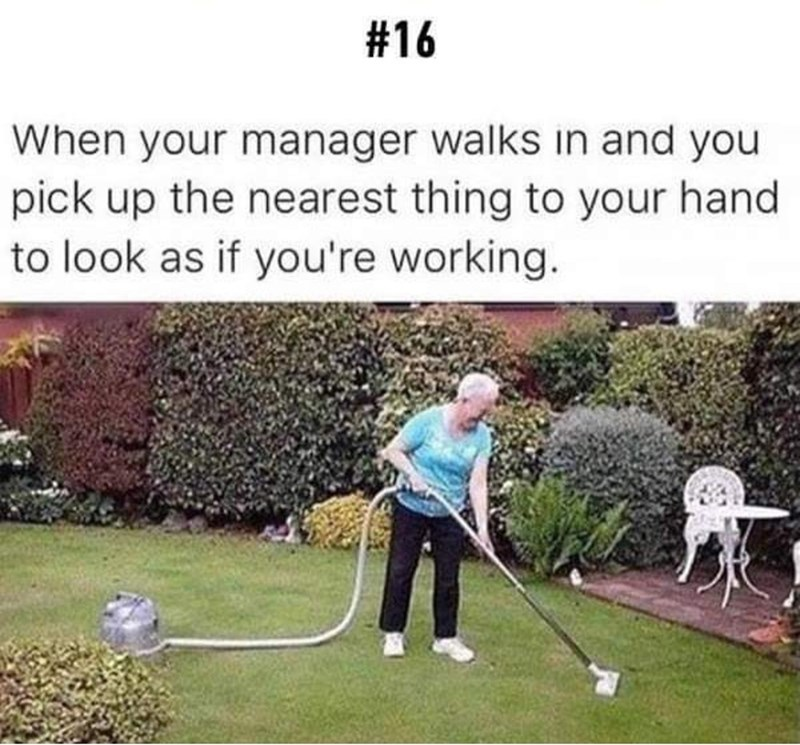 Lawn - #16 When your manager walks in and you pick up the nearest thing to your hand to look as if you're working.