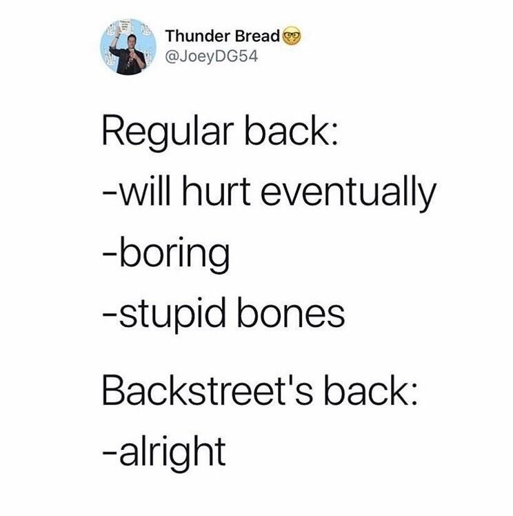twitter fun - Text - Thunder Bread @JoeyDG54 Regular back: -will hurt eventually -boring -stupid bones Backstreet's back: -alright