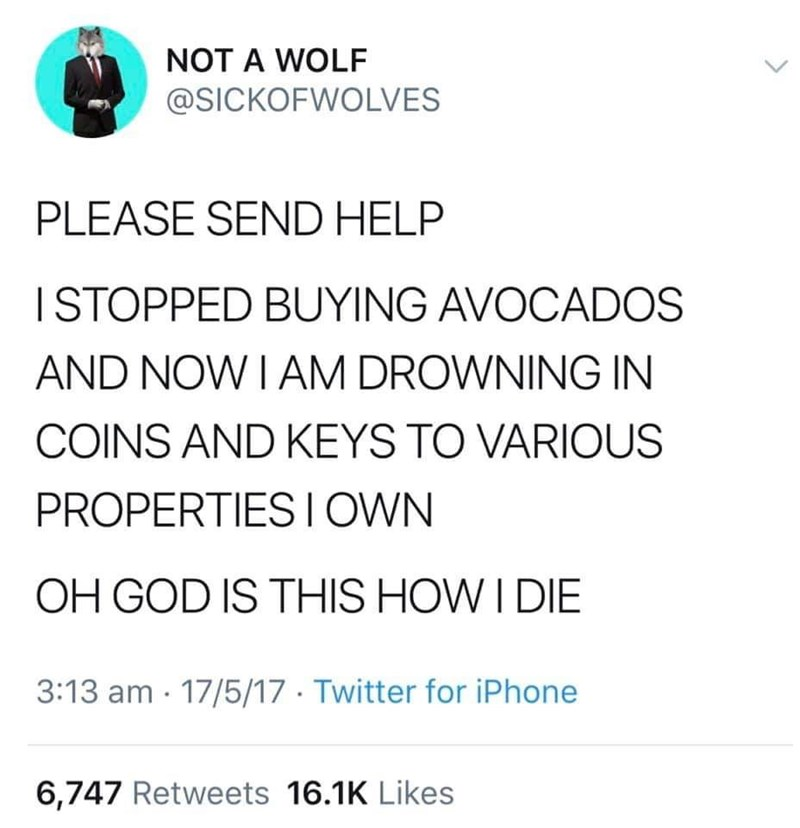 twitter post PLEASE SEND HELP I STOPPED BUYING AVOCADOS AND NOW I AM DROWNING IN COINS AND KEYS TO VARIOUS PROPERTIES I OWN OH GOD IS THIS HOW I DIE