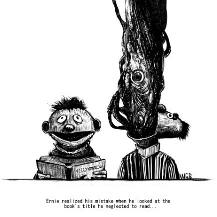ernie and bert monster coming out of bert's mouth Ernie realized his mistake when he looked at the book' s title he neglected to read...