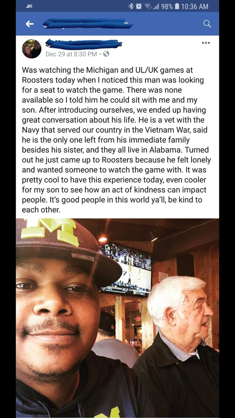 wholesome memes about a vet from the navy sitting with a man and his son at a game