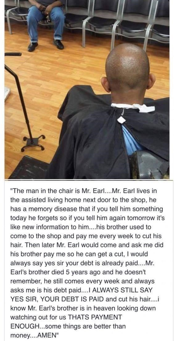 wholesome memes about a barber that cuts an old mans hair for free