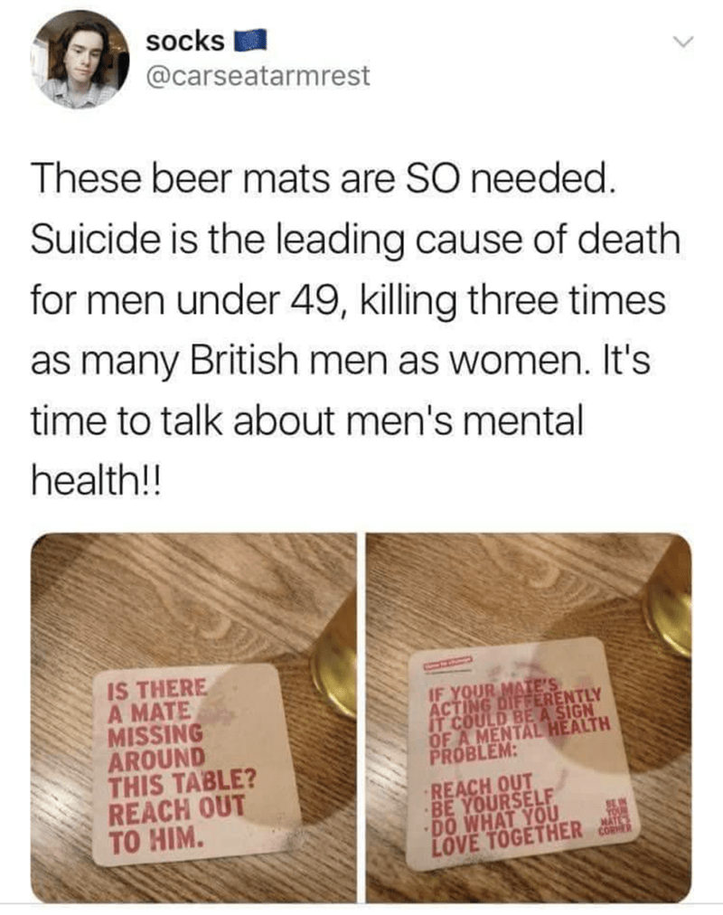wholesome memes about bringing awareness to men's mental health