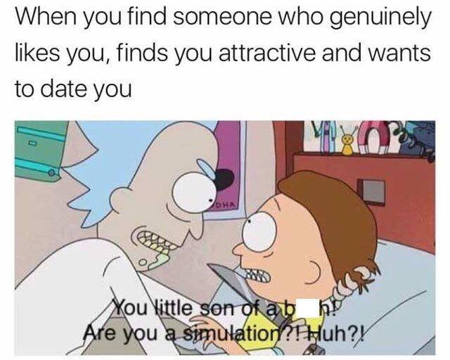 "Caption that reads, ""When you find someone who genuinely likes you, finds you attractive and wants to date you"" above a still of Rick telling Morty, ""You little son of a b*tch! Are you a simulation? Huh?!"""