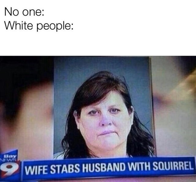 mug shot of woman No one: White people: Bay NEWS WIFE STABS HUSBAND WITH SQUIRREL