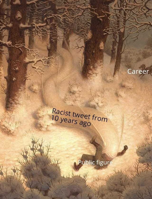 man in snowy woods being eaten by white snow creature Career Racist tweet from 10 years ago Public figure
