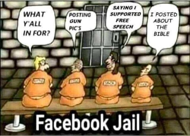 Cartoon - SAYING SUPPORTED I POSTED ABOUT THE WHAT POSTING FREE GUN Y'ALL SPEECH PIC'S IN FOR? BIBLE Facebook Jail